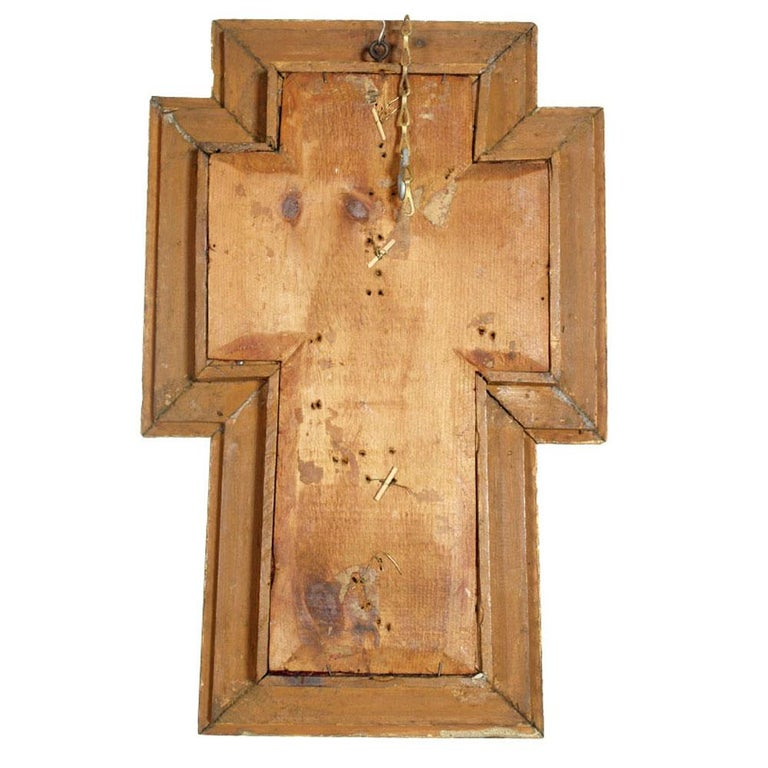 17th Century Italian Massive Silver Crucifix with Golden Wood Frame, circa 1900s In Excellent Condition For Sale In Vigonza, Padua