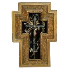 17th Century Italian Massive Silver Crucifix with Golden Wood Frame, circa 1900s