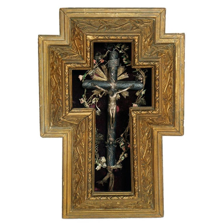 17th Century Italian Massive Silver Crucifix with Golden Wood Frame, circa 1900s For Sale