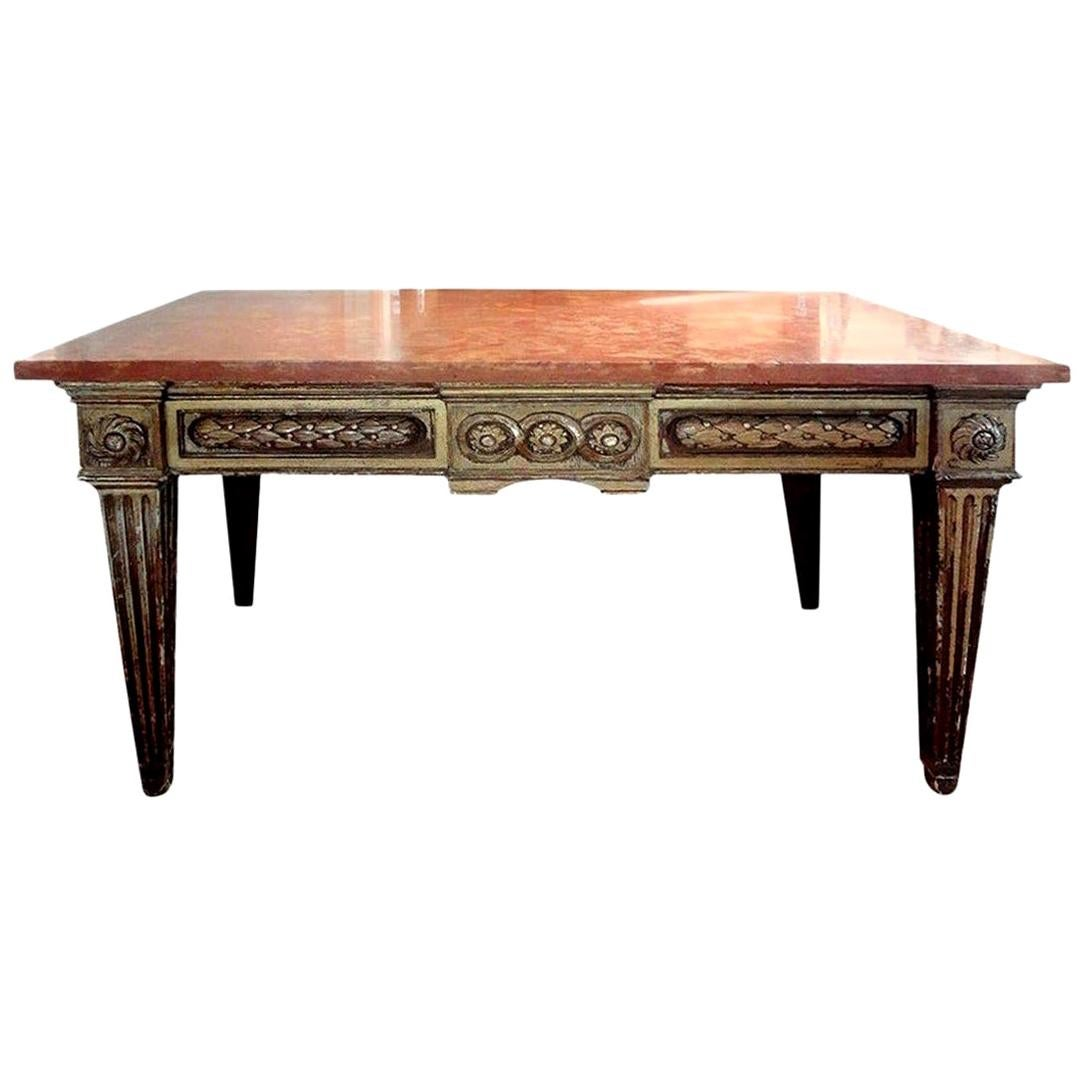 17th Century Italian Neoclassical Style Giltwood Console Table with Marble Top