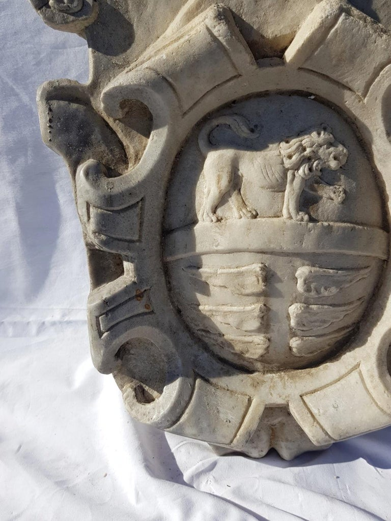 Noble coat of arms in white marble, an effigy depicting a lion in an oval with elegant scrolls. Italy, 17th century.