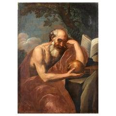 17th Century, Italian Oil on Canvas Paint with Saint Jerome in Meditatio