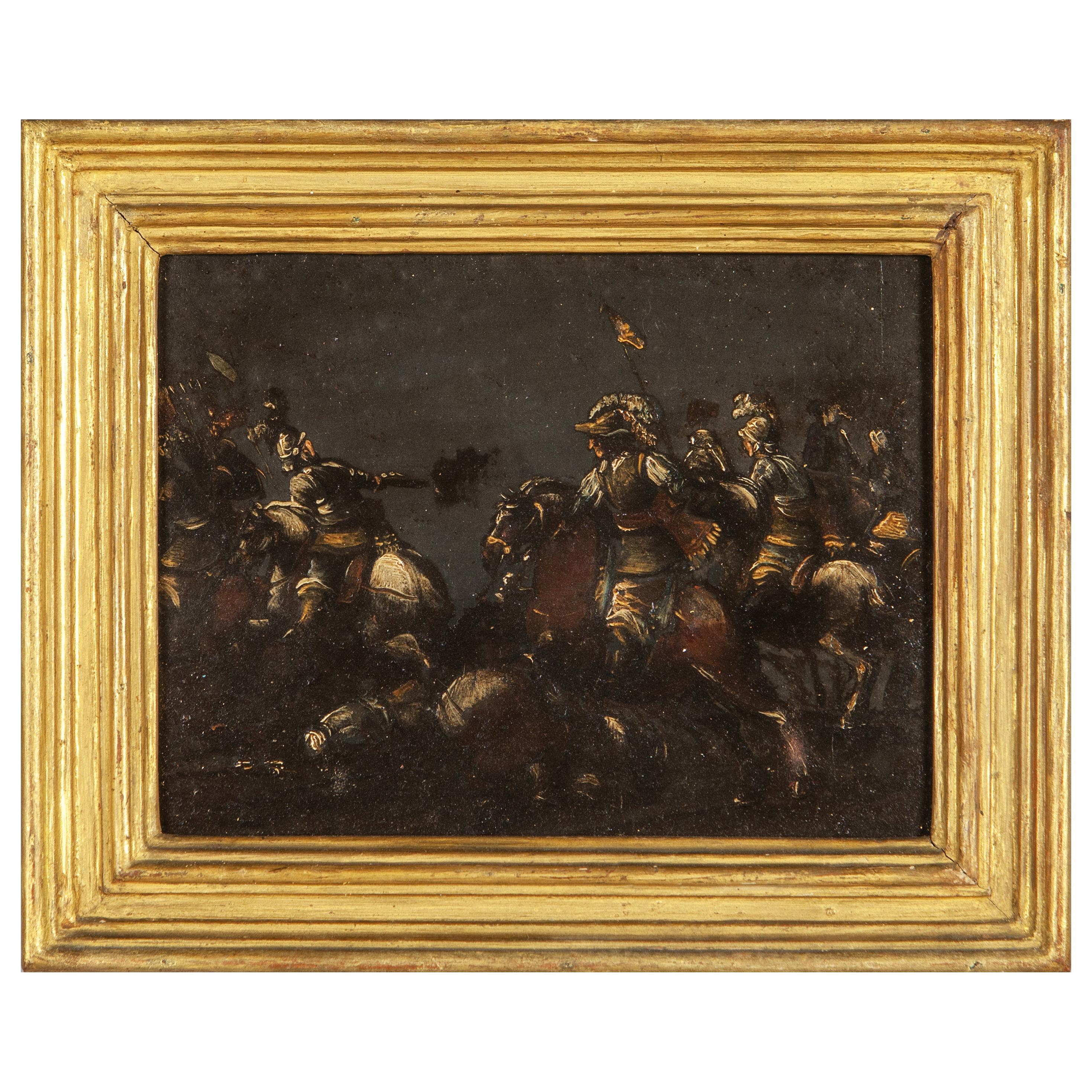 17th Century, Italian Oil on Slate Painting with A Cavalry Battle Scene