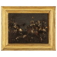 17th Century, Italian Oil on Slate Painting with A Cavalry Battle Scene