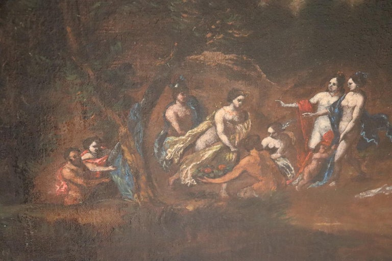 17th Century Italian Oil Painting on Canvas, Landscape with Figures For Sale 5