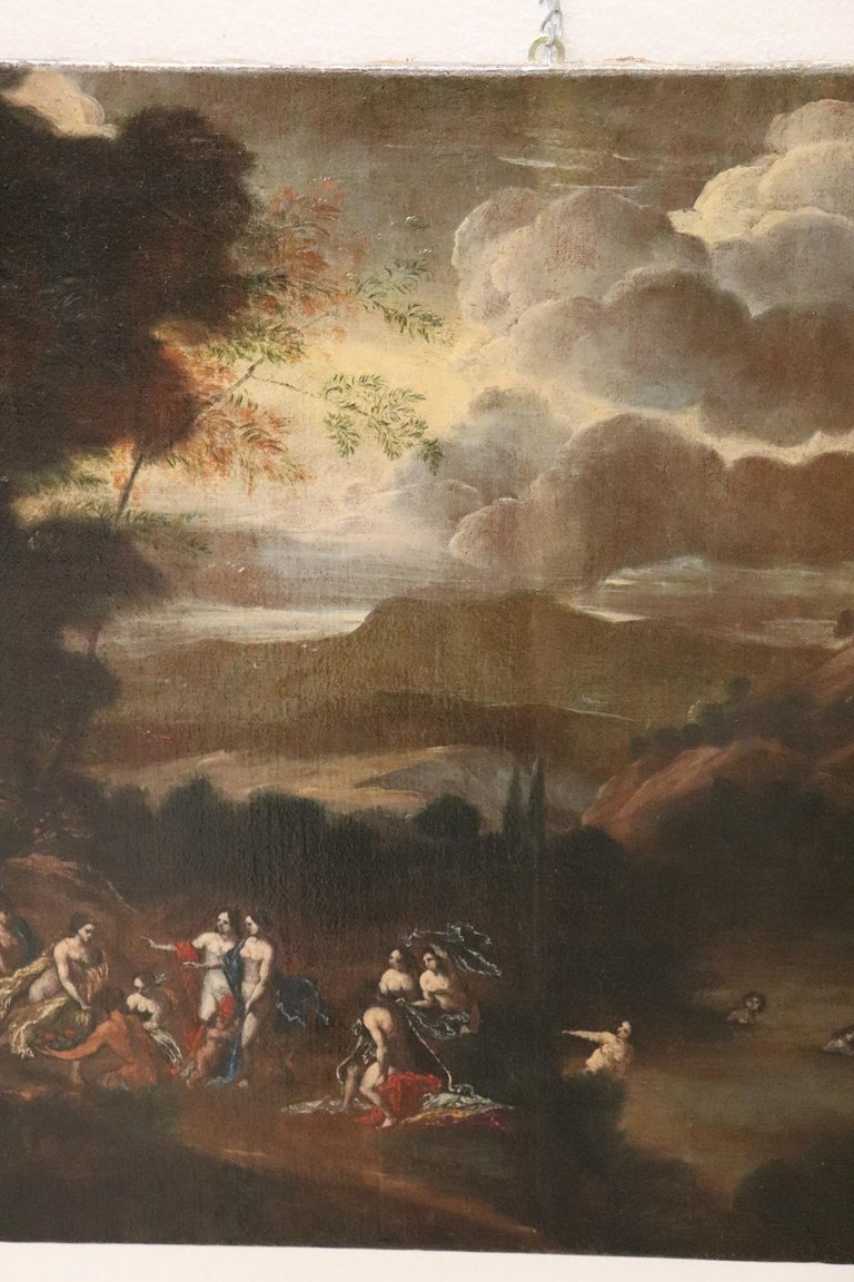Oiled 17th Century Italian Oil Painting on Canvas, Landscape with Figures For Sale