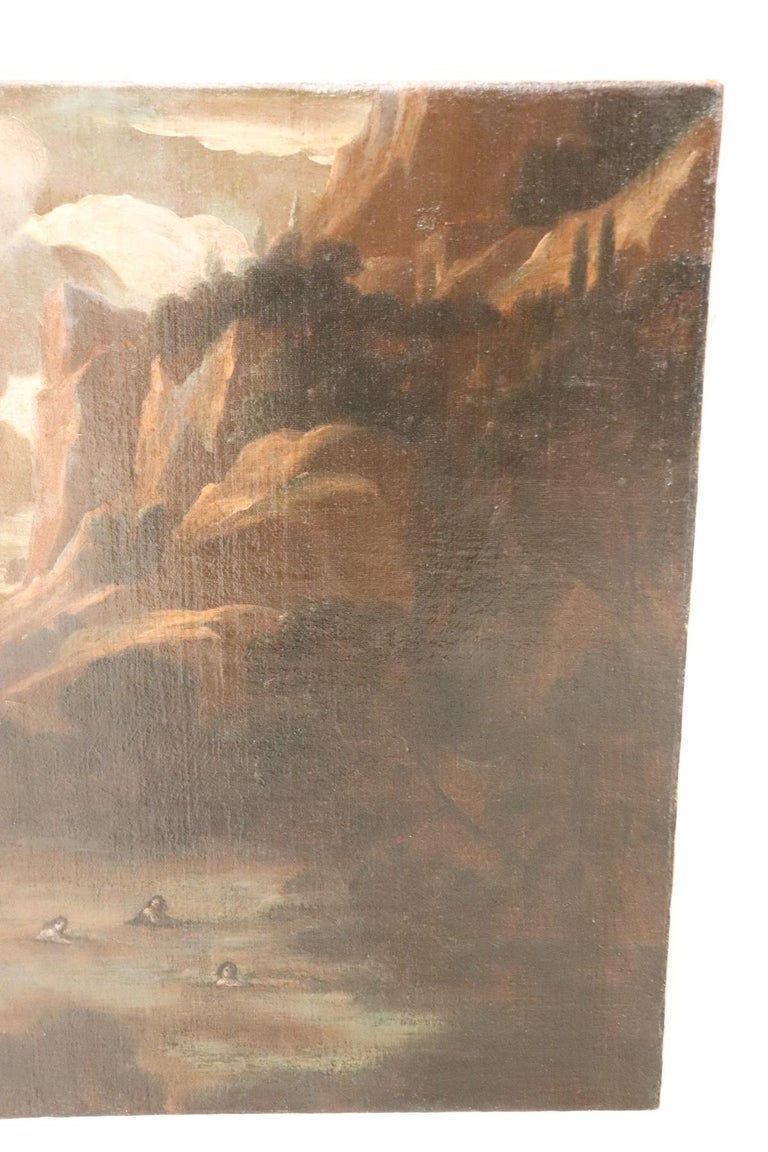 17th Century Italian Oil Painting on Canvas, Landscape with Figures In Excellent Condition For Sale In Bosco Marengo, IT