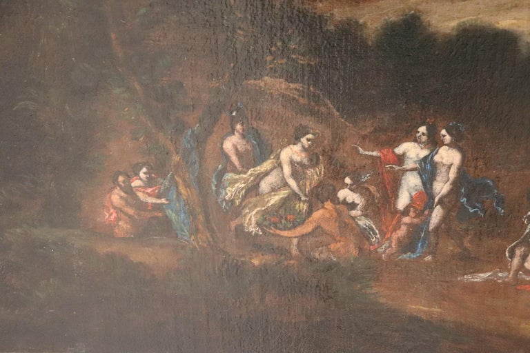 Late 17th Century 17th Century Italian Oil Painting on Canvas, Landscape with Figures For Sale