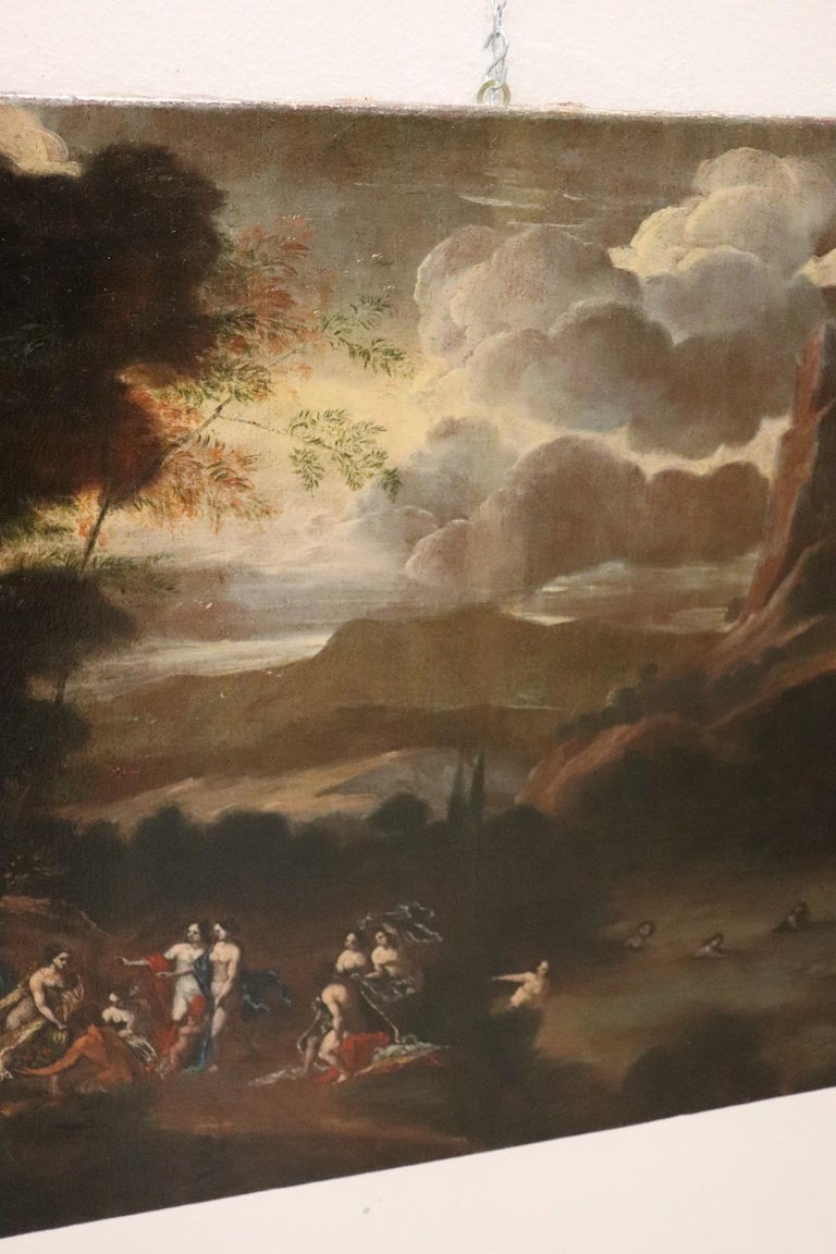 17th Century Italian Oil Painting on Canvas, Landscape with Figures For Sale 4