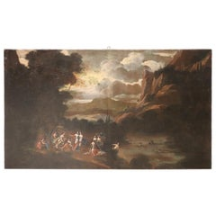 17th Century Italian Oil Painting on Canvas, Landscape with Figures