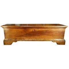 17th Century Italian Old Walnut Tuscan Rustic Primitive Trunk Chest Circa 1690