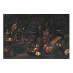 17th Century Italian Painting of a Kitchen Attributed to Gian Domenico Valentino