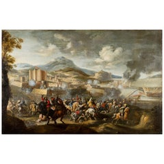 17th Century, Italian Painting with Battle attributed to Marzio Masturzo