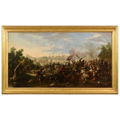 17th Century, Italian Painting with Battle Between Christian and Turkish Cavalry
