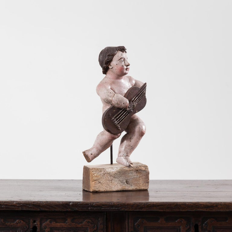 17th Century Italian Carved Painted Putto In Good Condition For Sale In York, GB