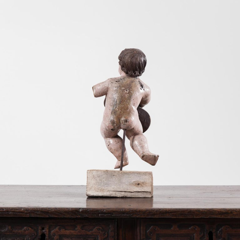 18th Century and Earlier 17th Century Italian Carved Painted Putto For Sale