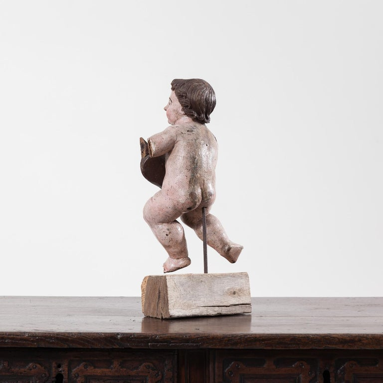 17th Century Italian Carved Painted Putto For Sale 1