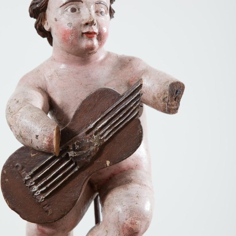 17th Century Italian Carved Painted Putto For Sale 3