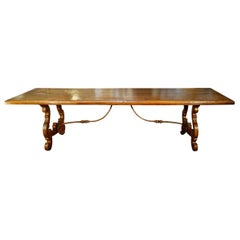 17th Century Style Italian Refectory Old Walnut Table, Forged Iron, Custom Size