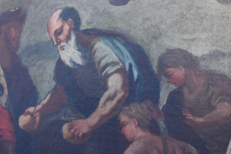 Painted 17th Century Italian School Biblical Scene For Sale