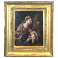 17th Century Italian School Painting Holy Family