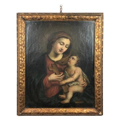 17th Century Italian School Virgin and Child Painting