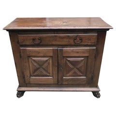 17th Century Italian Sideboard Hand Carved Walnut Credenza or Buffet from Milan