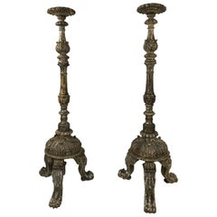 17th Century Italian Silver Leaf Floor Torcheres, Candlesticks