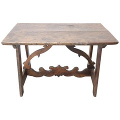 17th Century Italian Walnut Fratino Table or Desk with Lyre Legs