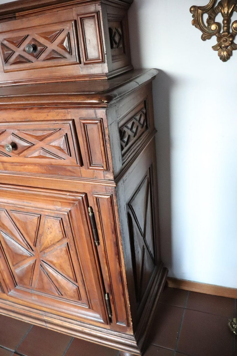 17th Century Italian Walnut Wood Large Rustic Sideboard, Buffet or Credenza For Sale 2