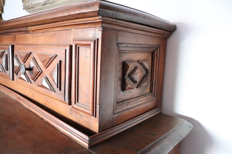 17th Century Italian Walnut Wood Large Rustic Sideboard, Buffet or Credenza For Sale 3