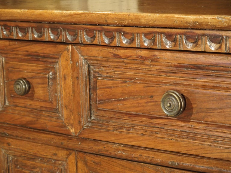 """Hand-Carved 17th Century Italian Walnut Wood """"Madia"""" Cabinet with Carved Bracket Base For Sale"""