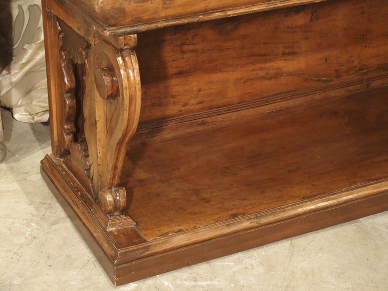 """17th Century Italian Walnut Wood """"Madia"""" Cabinet with Carved Bracket Base In Fair Condition For Sale In Dallas, TX"""