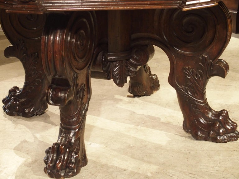 17th Century Italian Walnut Wood Octagonal Center Table with Large Paw Supports For Sale 11