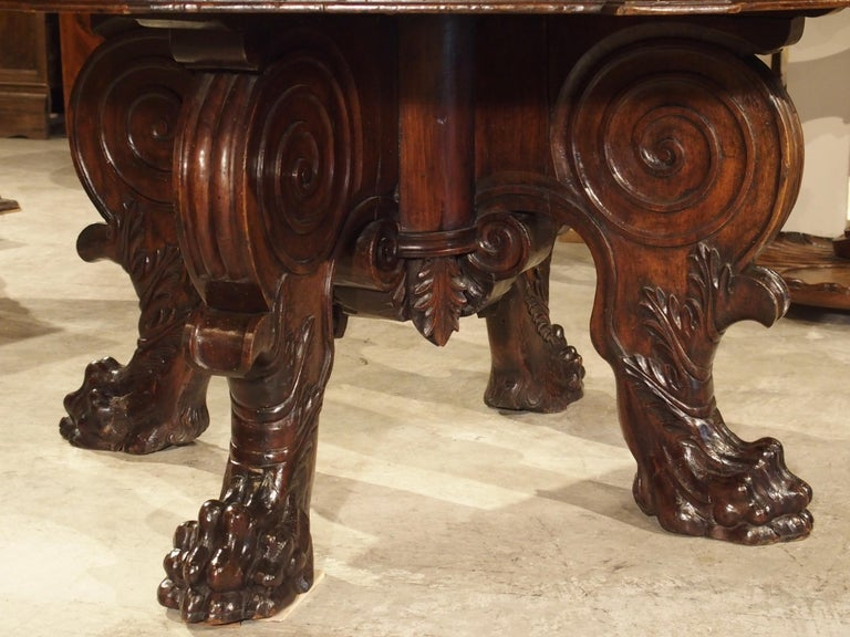 Renaissance 17th Century Italian Walnut Wood Octagonal Center Table with Large Paw Supports For Sale