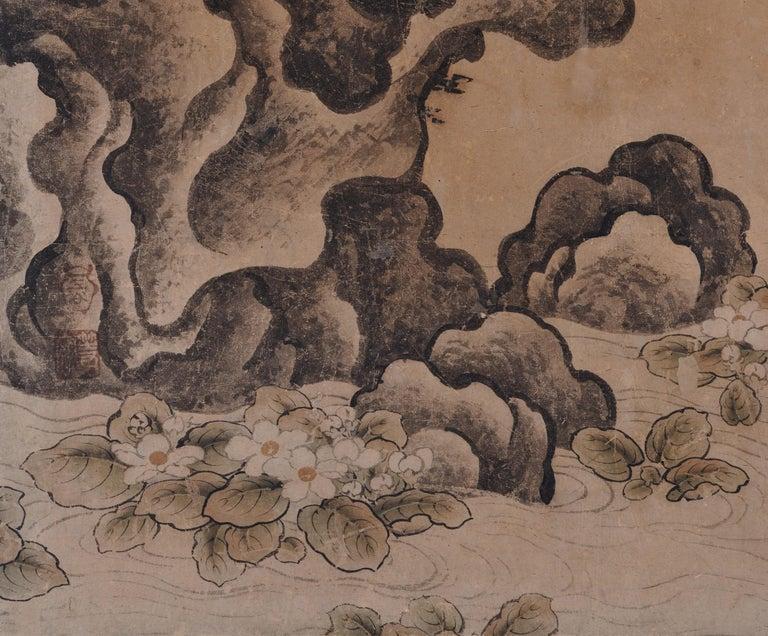 Edo 17th Century Japanese Falcon Painting, Mitani Toshuku, Unkoku School For Sale