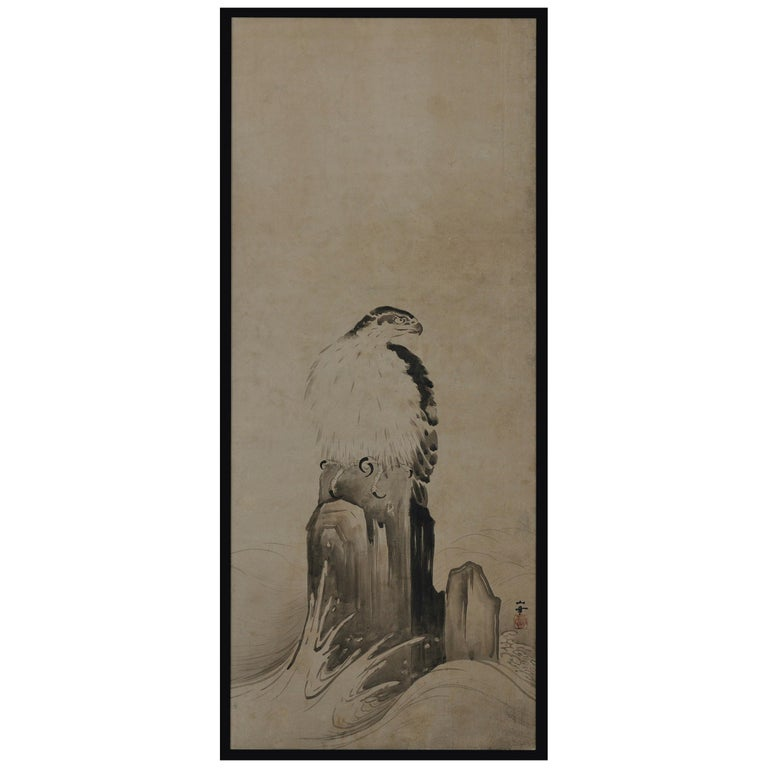 17th Century Japanese Framed Painting by Kano Sansetsu, Hawk and Waves For Sale