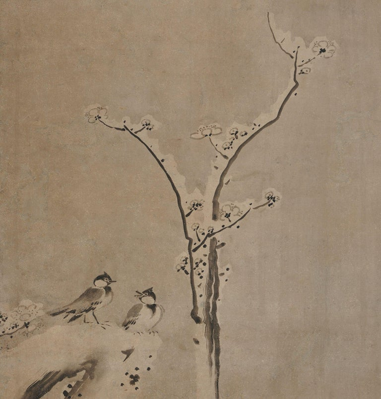 Edo 17th Century Japanese Framed Painting by Kano Sansetsu, Plum Blossoms in Snow For Sale