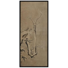 17th Century Japanese Framed Painting by Kano Sansetsu, Plum Blossoms in Snow