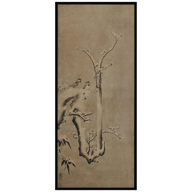 17th Century Japanese Framed Painting by Kano Sansetsu, Plum Blossoms in Snow For Sale