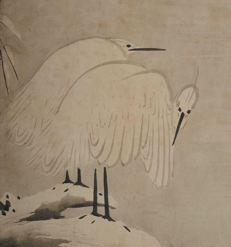 Kano Sansetsu (1589-1651)  White herons in snow  Edo period, circa 1640  Framed painting. Ink on paper.  Kano Sansetsu is a Japanese painter who represented the Kyo Kano (Kyoto Kano) school from the end of Momoyama to the early Edo period.