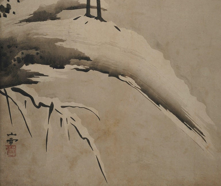 Edo 17th Century Japanese Framed Panel by Kano Sansetsu, White Herons in Snow For Sale