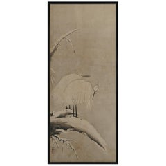17th Century Japanese Framed Panel by Kano Sansetsu, White Herons in Snow