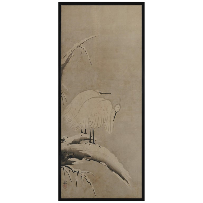 17th Century Japanese Framed Panel by Kano Sansetsu, White Herons in Snow For Sale