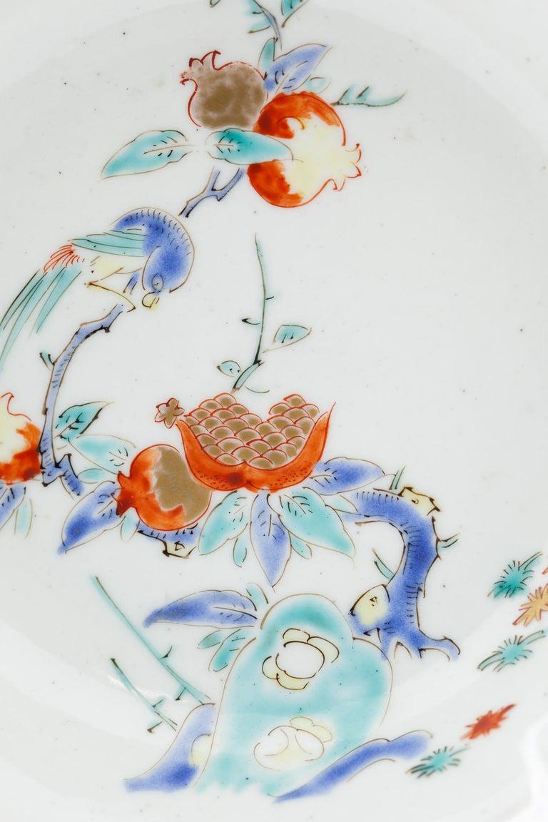Edo 17th Century Japanese Saucer, Kakiemon Ceramics, Bird and Pomegranate, Antique For Sale