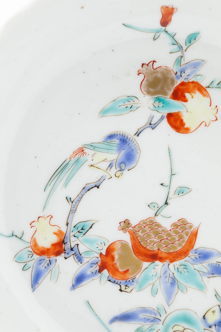 Fired 17th Century Japanese Saucer, Kakiemon Ceramics, Bird and Pomegranate, Antique For Sale