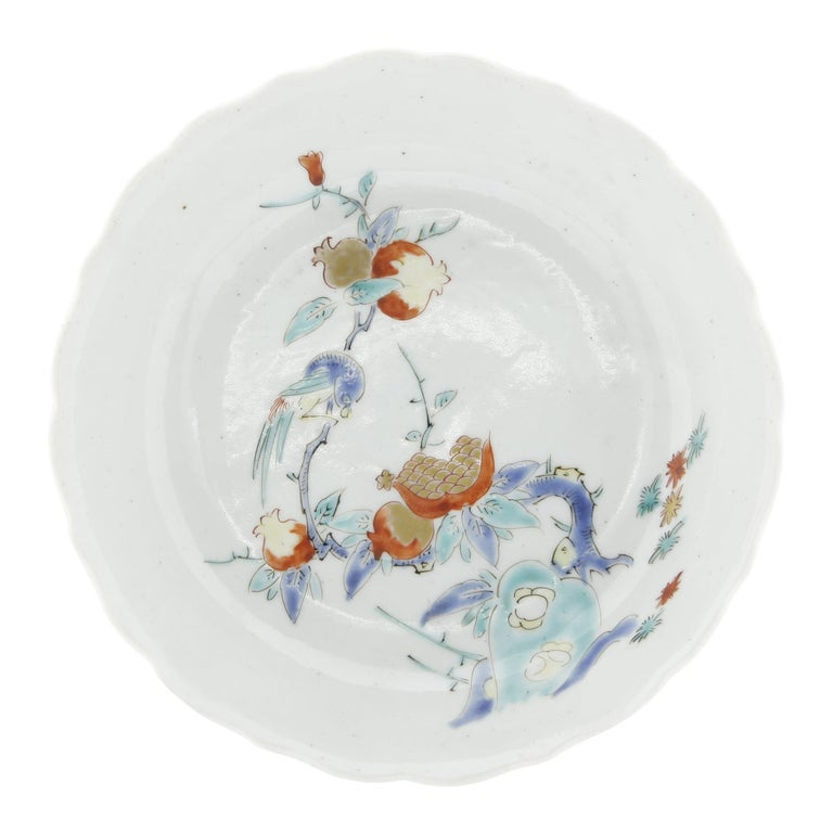17th Century Japanese Saucer, Kakiemon Ceramics, Bird and Pomegranate, Antique For Sale