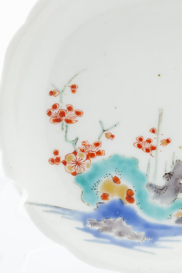 Fired 17th Century Japanese Saucer, Kakiemon Ceramics, River and Plum Blossom, Antique For Sale