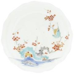 17th Century Japanese Saucer, Kakiemon Ceramics, River and Plum Blossom, Antique