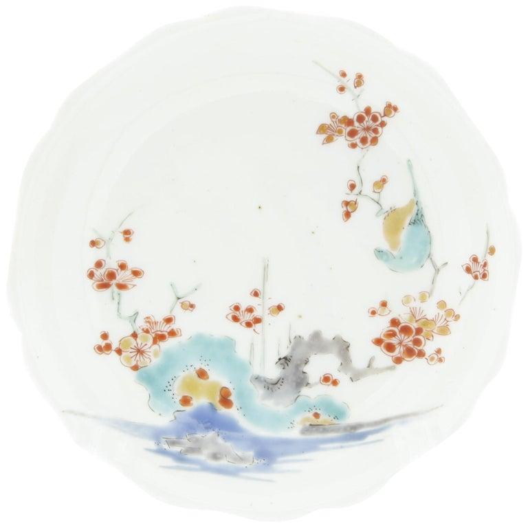 17th Century Japanese Saucer, Kakiemon Ceramics, River and Plum Blossom, Antique For Sale
